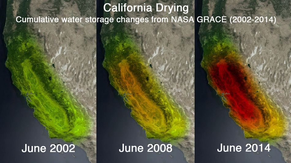 California drought satellite image